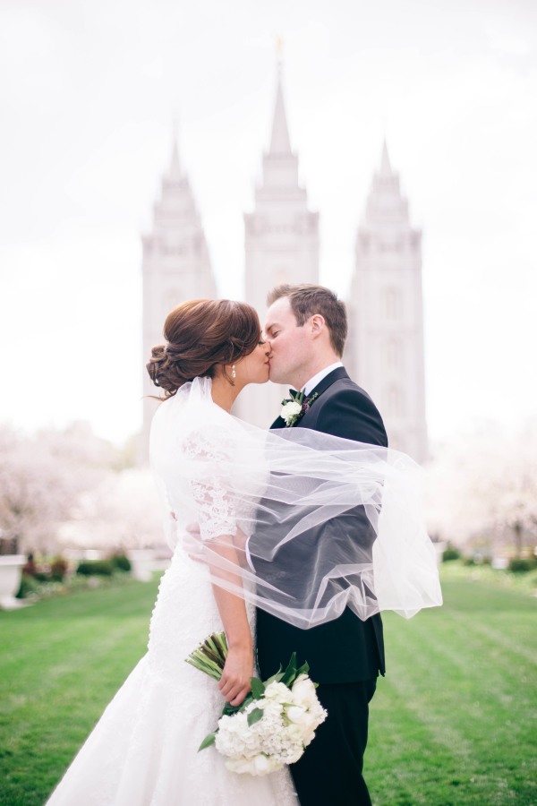 Bride and Groom at Salt Lake Temple
