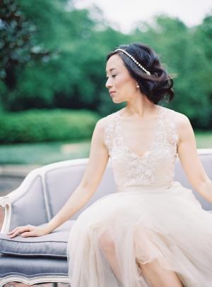 Bride in Elegant BHLDN Gown