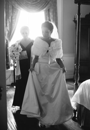 Bride in Faux Fur Wrap