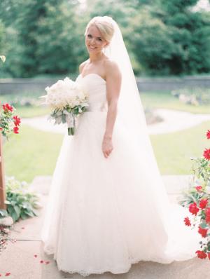Bride in Strapless Ballgown