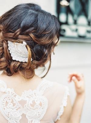 Bride with Fan Headpiece
