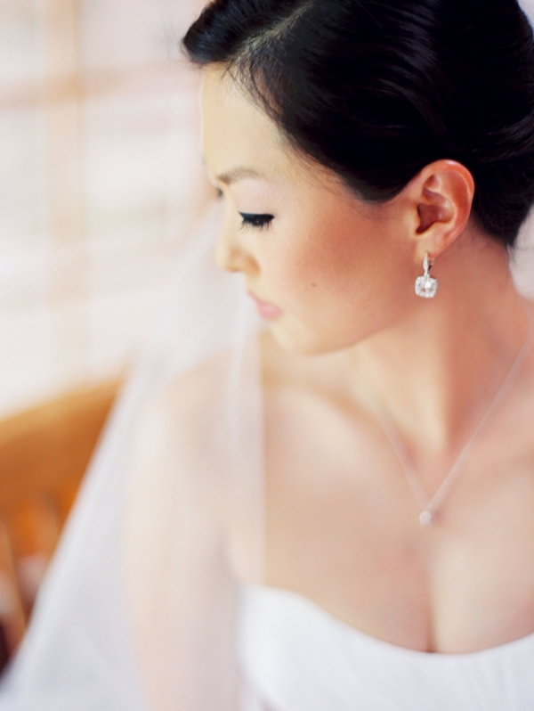 Bride with Pretty Drop Earrings