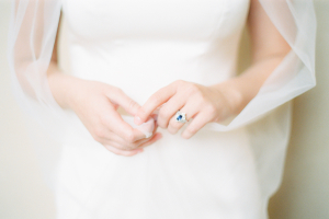 Bride with Sapphire Ring