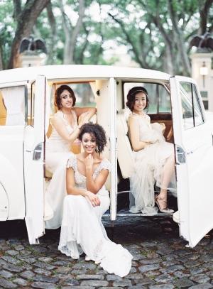 Brides in Vintage Car