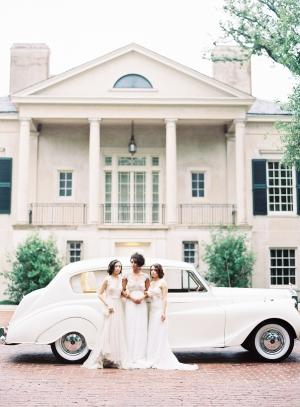 Brides with Vintage Car
