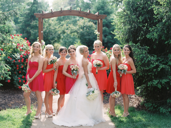 Bridesmaids in Pink and Red