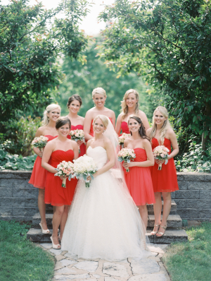 Bridesmaids in Shades of Red
