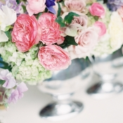 Colorful Centerpiece in Silver Urn