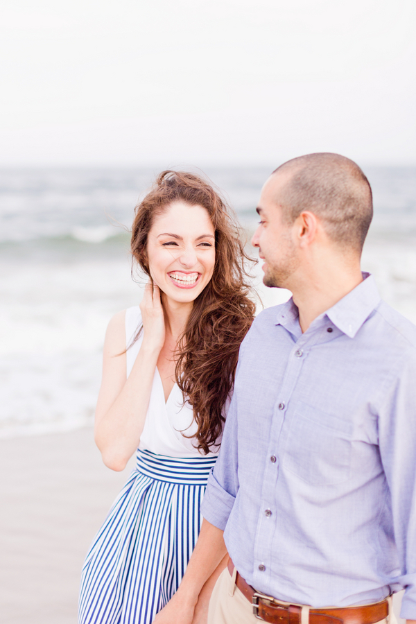 Couple Walking on Beach at Coney Island