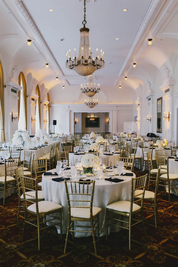 Elegant Gold and White Reception Decor