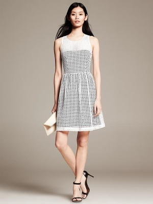 Eyelet Fit and Flare Dress