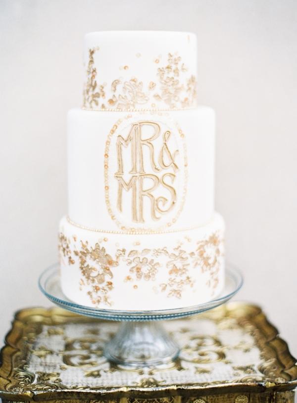 Gold Flaked Wedding Cake