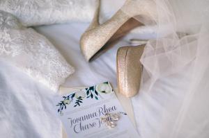 Gold Glitter Platform Bridal Shoes