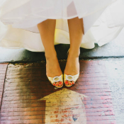 Gold Manolo Blahnik Bridal Shoes