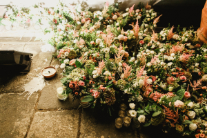 Green and Pink Wedding Florals
