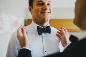 Groom in Polka Dot Bow Tie