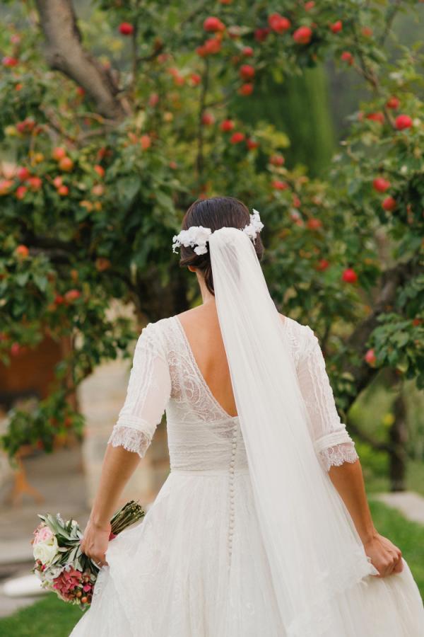 Hair Wreath and Veil Bridal Headpiece