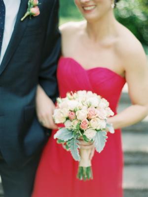 Hot Pink Strapless Bridesmaid Dress