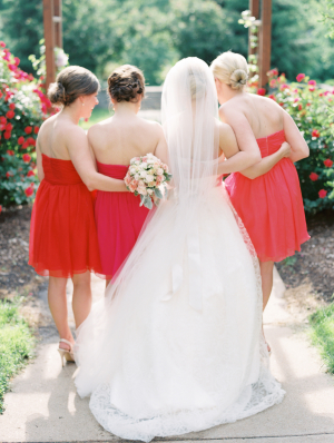 Hot Pink and Red Bridesmaids