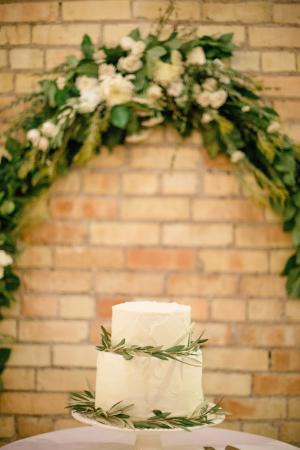 Ivory Wedding Cake With Greenery