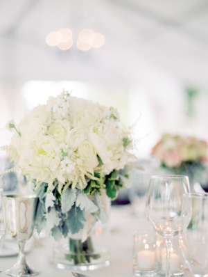 Ivory and Dusty Miller Centerpiece