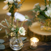 Ivory and Green Reception Florals