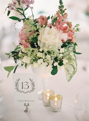 Ivory and Pink Centerpiece