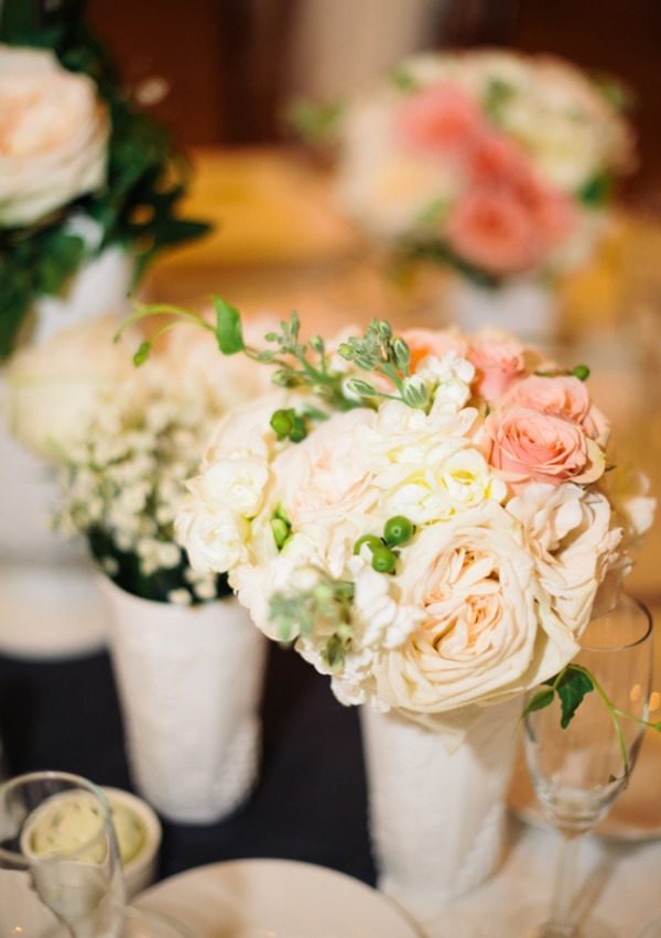 Ivory and Pink Centerpieces