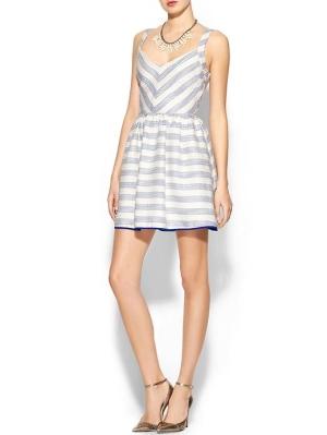 Jacquard Striped Chevron Fit N Flare Dress