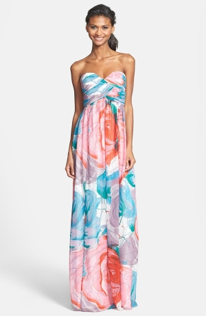 Laura Print Strapless Sweetheart Chiffon Gown