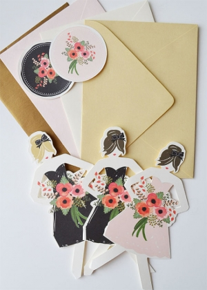 Paper Doll Bridesmaids Cards By The First Snow