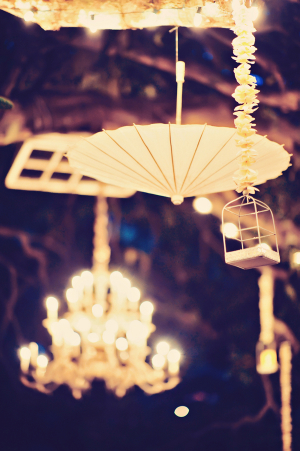 Parasols Hanging at Wedding