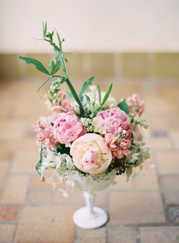Peach and Pink Florals in Milk Glass Vase