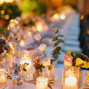 Pillar Candles in Centerpiece