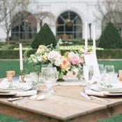Pink Green Garden Style Centerpiece
