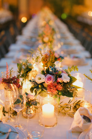 Pink Green and Cream Reception Florals