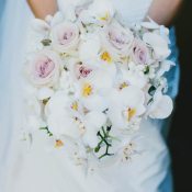 Pink Rose and White Orchid Bouquet