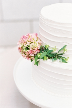 Pink and Green Flower on Wedding Cake
