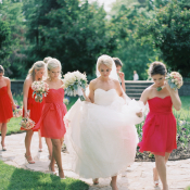 Pretty Pink and Red Bridesmaids