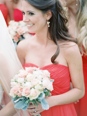Red Strapless Bridesmaid Dress