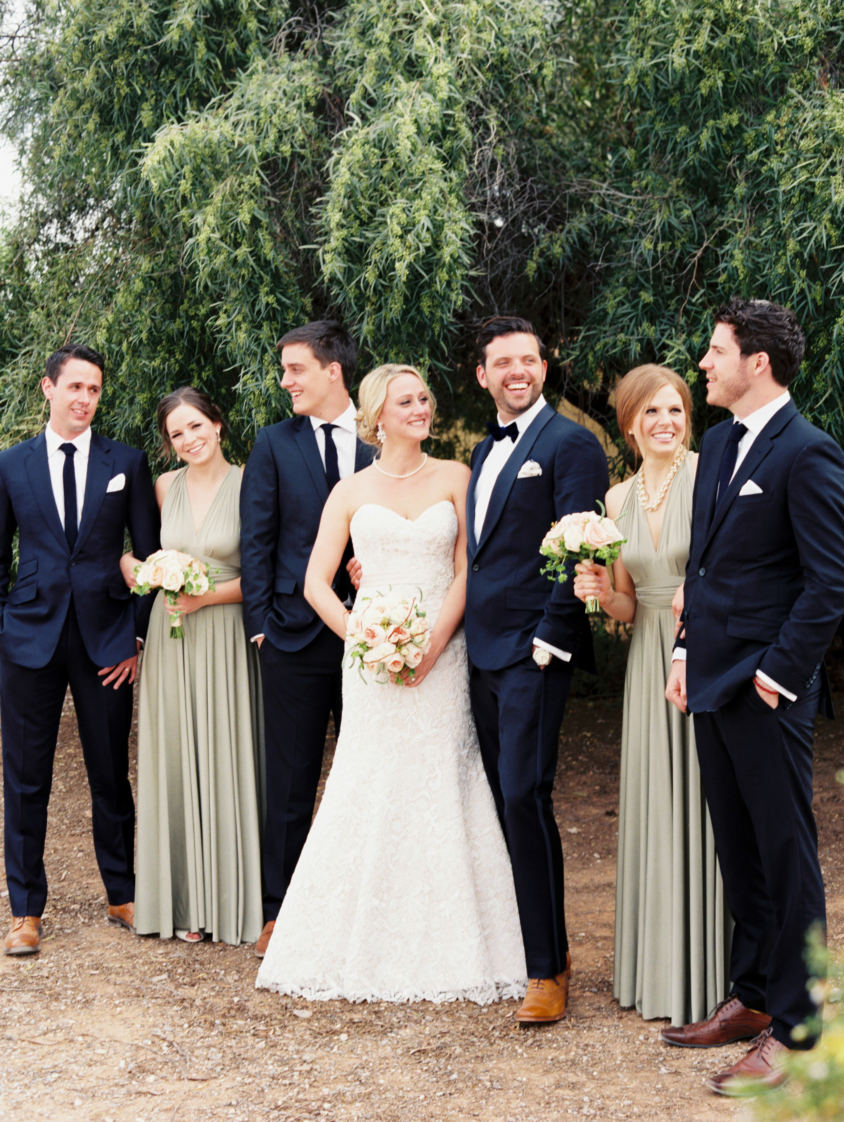 Silver And Navy Wedding Party