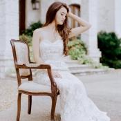 Strapless Vintage Lace Bridal Gown