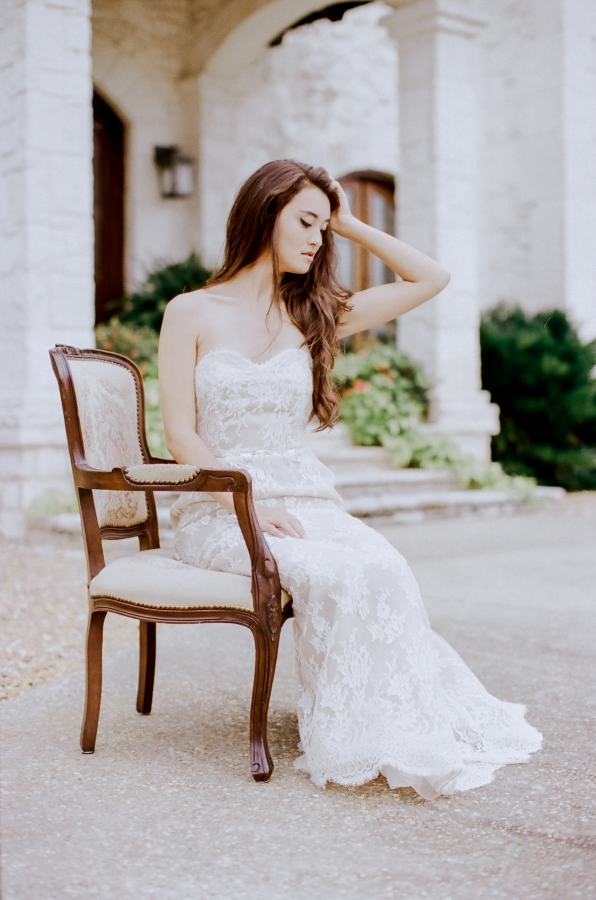 Strapless Vintage Lace Bridal Gown