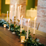 Taper Candle and Greenery Centerpiece