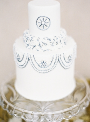Wedding Cake with Blue and Silver Beading