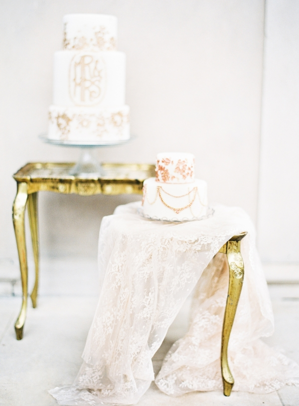 Wedding Cakes with Gold Leaf