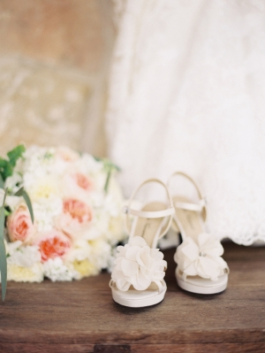 White Bridal Shoes With Flowers