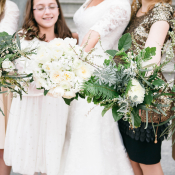 White Floral and Fern Bouquets