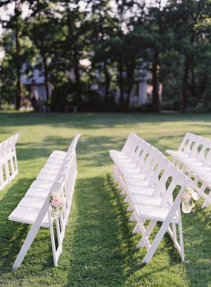White Folding Chairs Outdoor Wedding Ceremony