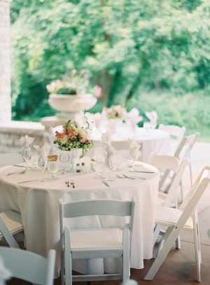 White Folding Chairs Reception Decor